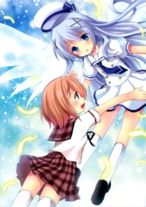 Rating: Safe Score: 64 Tags: azuma_yuki gochuumon_wa_usagi_desu_ka? hoto_cocoa imomuya_honpo kafuu_chino seifuku singleton thighhighs wings User: Mr_GT