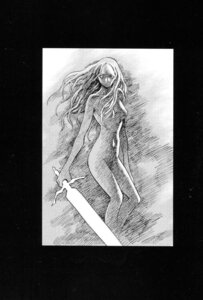 Rating: Questionable Score: 2 Tags: claymore monochrome naked nipples sword yagi_norihiro User: Radioactive