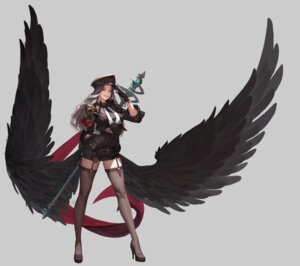 Rating: Safe Score: 30 Tags: ake_(cherrylich) heels stockings thighhighs uniform weapon wings User: Mr_GT