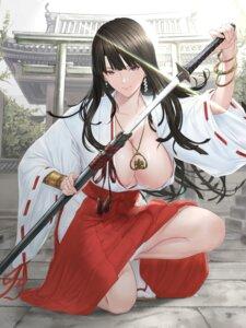 Rating: Questionable Score: 61 Tags: miko no_bra open_shirt pantsu skirt_lift sword tagme User: Mr_GT
