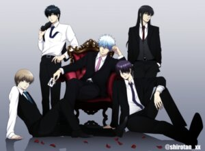 Rating: Safe Score: 12 Tags: business_suit gintama hijikata_toushirou katsura_kotarou male official_watermark okita_sougo sakata_gintoki shiroyasha_(artist) takasugi_shinsuke User: charunetra