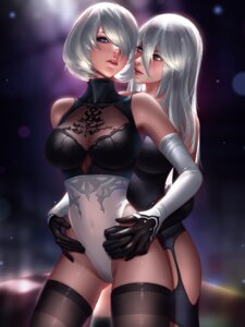 Rating: Questionable Score: 72 Tags: cleavage dress leotard liang_xing nier_automata no_bra nopan see_through stockings thighhighs yorha_no.2_type_b yorha_type_a_no._2 yuri User: mash