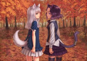 Rating: Safe Score: 22 Tags: animal_ears kosai_takayuki tail thighhighs User: Mr_GT