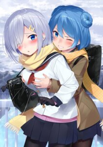 Rating: Safe Score: 9 Tags: breast_hold hamakaze_(kancolle) kantai_collection nezumi_doshi pantyhose seifuku sweater urakaze_(kancolle) yuri User: Mr_GT