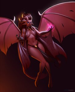 Rating: Questionable Score: 5 Tags: devil doomxwolf horns pointy_ears tail topless wings User: dick_dickinson