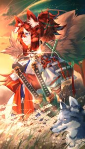 Rating: Safe Score: 21 Tags: animal_ears cleavage dearrose japanese_clothes sword User: Mr_GT