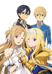 Rating: Safe Score: 23 Tags: alice_schuberg armor asuna_(sword_art_online) dress eugeo kirito sword_art_online sword_art_online_alicization sword_art_online_alicization_lycoris uniform User: kiyoe