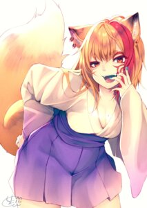 Rating: Safe Score: 22 Tags: animal_ears chita_(ketchup) cleavage japanese_clothes kitsune tail tattoo User: RyuZU