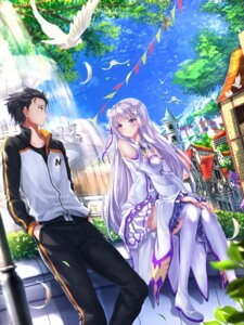 Rating: Safe Score: 63 Tags: cleavage dress emilia_(re_zero) natsuki_subaru pack_(re_zero) re_zero_kara_hajimeru_isekai_seikatsu swordsouls thighhighs User: sylver650