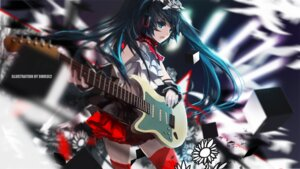 Rating: Safe Score: 37 Tags: guitar hatsune_miku swd3e2 thighhighs vocaloid User: sylver650