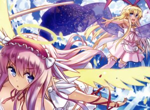 Rating: Safe Score: 20 Tags: amae_koromo dress haramura_nodoka kamiljm saki thighhighs wings User: RICO740