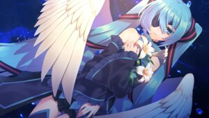 Rating: Safe Score: 22 Tags: breast_hold dress eyepatch hatsune_miku matsuda_toki thighhighs vocaloid wallpaper wings User: charunetra