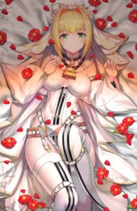Rating: Questionable Score: 30 Tags: btraphen cleavage fate/extra fate/extra_ccc fate/grand_order fate/stay_night leotard saber_bride saber_extra stockings thighhighs User: Spidey