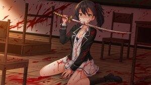 Rating: Questionable Score: 12 Tags: blood bra cleavage kazenokaze open_shirt seifuku sword torn_clothes wallpaper User: mattiasc02