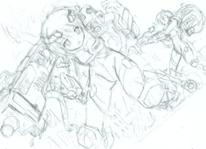Rating: Questionable Score: 3 Tags: komatsu_e-ji mecha_musume monochrome sketch User: petopeto
