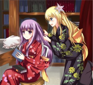 Rating: Safe Score: 32 Tags: kirisame_marisa patchouli_knowledge tailam touhou yukata yuri User: 23yAyuMe