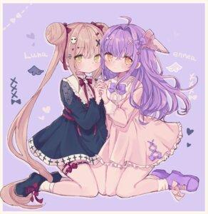 Rating: Safe Score: 22 Tags: aenea dress garter karunabaru lolita_fashion luna_(shadowverse) shadowverse yuri User: BattlequeenYume