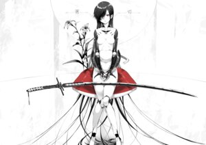 Rating: Safe Score: 60 Tags: mecha_musume monochrome sword tokichi User: Mr_GT