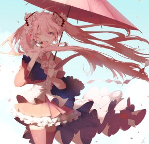 Rating: Safe Score: 50 Tags: hatsune_miku saihate sakura_miku tattoo thighhighs umbrella vocaloid User: Mr_GT