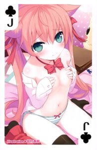 Rating: Questionable Score: 48 Tags: animal_ears breast_hold card minamura_halki nekomimi no_bra open_shirt pantsu seifuku shimapan thighhighs User: drop