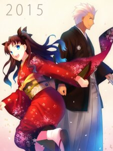 Rating: Safe Score: 48 Tags: archer fate/stay_night toosaka_rin yukata User: WAckira