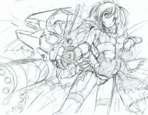 Rating: Questionable Score: 4 Tags: komatsu_e-ji mecha_musume monochrome sketch User: petopeto