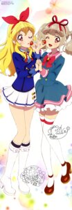 Rating: Safe Score: 13 Tags: aikatsu! aikatsu_on_parade! autographed heels hoshimiya_ichigo kiseki_raki miyadani_risa seifuku thighhighs User: drop