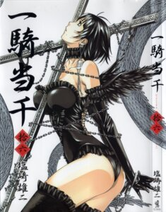 Rating: Safe Score: 44 Tags: ass bondage eyepatch ikkitousen jpeg_artifacts leotard ryomou_shimei shiozaki_yuuji thighhighs wings User: bdanime05