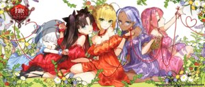 Rating: Safe Score: 48 Tags: alice_(fate/extra) amari_misao cleavage dress fate/extra_last_encore garter heels megane rani_viii saber_extra toosaka_rin wada_rco User: DDD