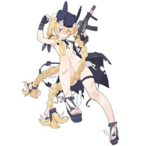 Rating: Questionable Score: 36 Tags: animal_ears bandaid bottomless bunny_ears garter girls_frontline gun heels loli no_bra pandegg photoshop sr-3mp_(girls_frontline) torn_clothes User: kitsuneMoe