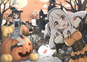 Rating: Safe Score: 77 Tags: animal_ears bloomers dress halloween horns karutamo nekomimi tail thighhighs wings witch User: Mr_GT