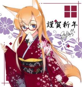 Rating: Safe Score: 24 Tags: animal_ears kimono kitsune matatabi_haru megane tail User: fairyren