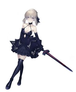 Rating: Safe Score: 19 Tags: dress fate/grand_order hong_jo no_bra saber saber_alter sword thighhighs User: Dreista