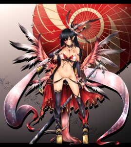 Rating: Questionable Score: 74 Tags: bikini_armor cleavage elf frofrofrost pointy_ears sword tattoo thighhighs umbrella wings User: mash