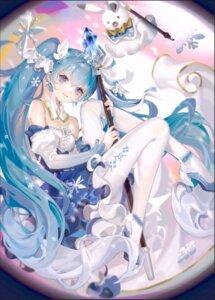 Rating: Safe Score: 24 Tags: dress hatsune_miku no_bra pantyhose samo_(shichun_samo) skirt_lift vocaloid weapon yuki_miku User: BattlequeenYume