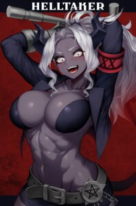 Rating: Questionable Score: 32 Tags: bikini_armor erect_nipples helltaker horns judgement_(helltaker) open_shirt tail vana weapon User: Mr_GT