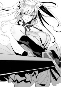 Rating: Safe Score: 17 Tags: cleavage elf monochrome nanao no_bra pointy_ears sword User: kiyoe