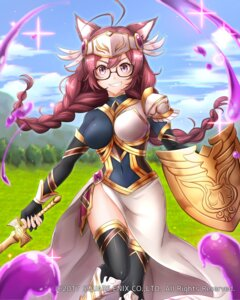 Rating: Questionable Score: 26 Tags: animal_ears armor mappaninatta megane square_enix sword thighhighs venus_rumble User: Nepcoheart