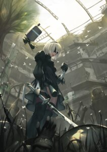 Rating: Safe Score: 43 Tags: dress nier_automata redeyehare sword thighhighs yorha_no.2_type_b User: Mr_GT