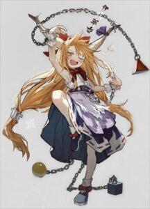 Rating: Safe Score: 10 Tags: horns ibuki_suika scyze skirt_lift torn_clothes touhou weapon User: Munchau