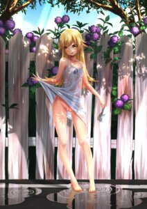 Rating: Explicit Score: 123 Tags: bakemonogatari bandaid dress loli maebari no_bra nopan oshino_shinobu pointy_ears pussy see_through shiro_ringo skirt_lift summer_dress wet_clothes User: Mr_GT