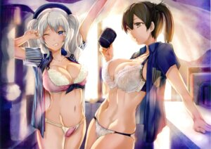 Rating: Questionable Score: 100 Tags: armadillo-tokage bra cleavage kaga_(kancolle) kantai_collection kashima_(kancolle) lawson open_shirt pantsu see_through uniform User: mash