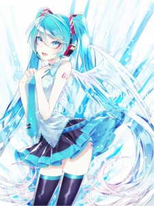 Rating: Safe Score: 12 Tags: 1055 hatsune_miku headphones skirt_lift tattoo thighhighs vocaloid wings User: charunetra