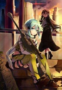 Rating: Safe Score: 34 Tags: armor gun gun_gale_online kagura_kurosaki kirito sinon sword_art_online User: charunetra