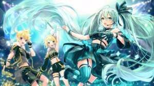 Rating: Safe Score: 27 Tags: garter hatsune_miku kagamine_len kagamine_rin shinotarou_(nagunaguex) stockings thighhighs vocaloid wallpaper User: Dreista