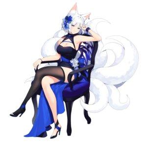 Rating: Questionable Score: 39 Tags: animal_ears azur_lane cleavage heels kaga_(azur_lane) kitsune sayan tail thighhighs User: Dreista