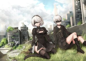 Rating: Safe Score: 16 Tags: cleavage dress heels nier_automata rong_yi_tan thighhighs yorha_no.2_type_b yorha_no._9_type_s User: Mr_GT