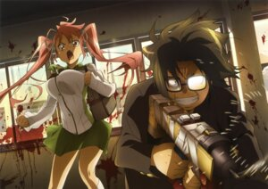 Rating: Safe Score: 38 Tags: blood highschool_of_the_dead hirano_kohta megane seifuku takagi_saya User: blooregardo