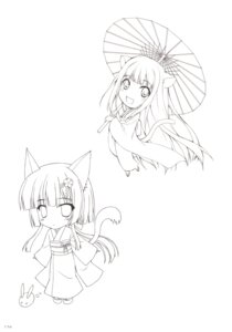 Rating: Safe Score: 20 Tags: animal_ears chibi keg line_art nanao_naru tail umbrella yukata User: Bulzeeb