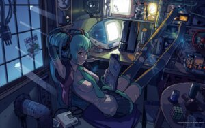 Rating: Safe Score: 32 Tags: hatsune_miku headphones thighhighs torn_clothes vocaloid wallpaper yasumori_zen User: charunetra